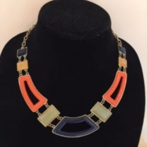 Talbots Statement Necklace, Geometric, Navy/Multi